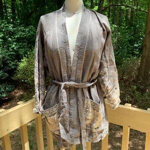 Johnny Was Linen Embroidered kimono Jacket